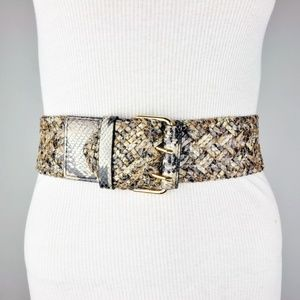 Accessories - Faux Leather Wide Alligator Snake Stretch Belt